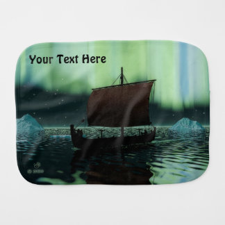 Viking Ship And Northern Lights Burp Cloths