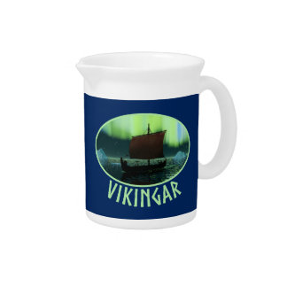 Viking Ship And Northern Lights Drink Pitcher