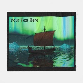 Viking Ship And Northern Lights Fleece Blanket
