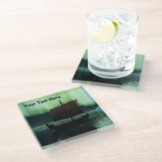 Viking Ship And Northern Lights Glass Coaster