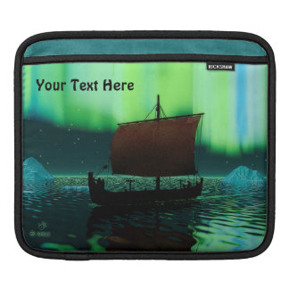 Viking Ship And Northern Lights iPad Sleeve
