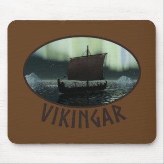 Viking Ship And Northern Lights Mouse Pad
