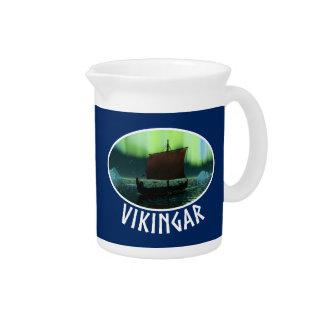 Viking Ship And Northern Lights Pitcher