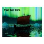 Viking Ship And Northern Lights Postcard