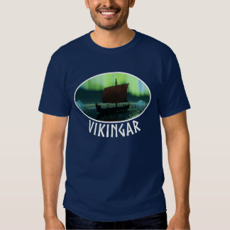 Viking Ship And Northern Lights T Shirt