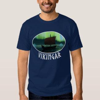 Viking Ship And Northern Lights Tee Shirt