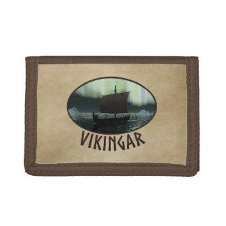 Viking Ship And Northern Lights Tri-fold Wallets
