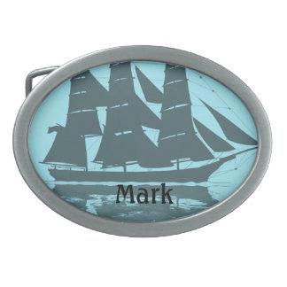 Viking Ship Birthday Oval Belt Buckle