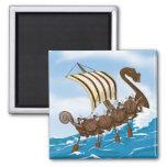 Viking Ship Cartoon 2 Inch Square Magnet
