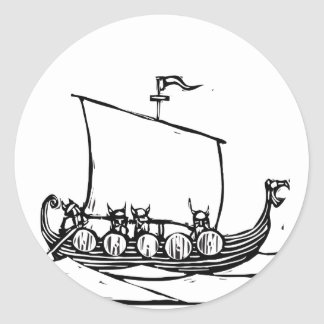 Viking Ship Classic Round Sticker