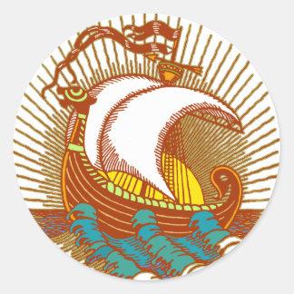 Viking Ship Classic Round Sticker