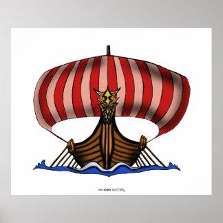 Viking ship drawing art poster