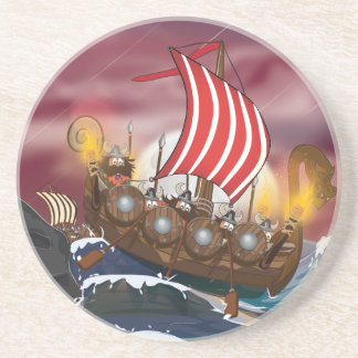 Viking Ship Invasion Fleet Drink Coaster