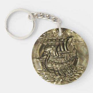 Viking Ship Double-Sided Round Acrylic Keychain