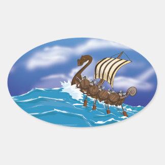 Viking Ship Oval Sticker