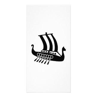 Viking ship personalized photo card