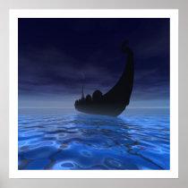 viking, ship, sails, sea, ocean, water, oceans, Cartaz/impressão com design gráfico personalizado