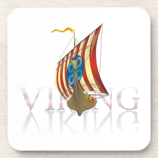 Viking ship reflecting on mysterious water beverage coaster