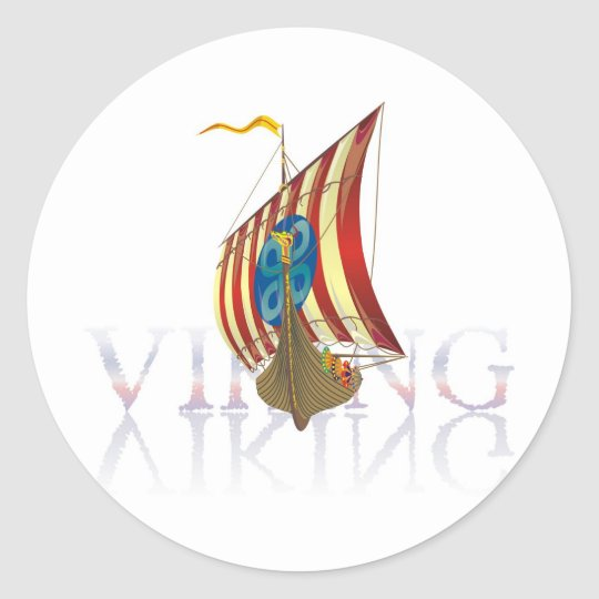 Viking ship reflecting on mysterious water classic round sticker