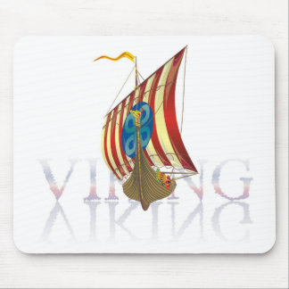 Viking ship reflecting on mysterious water mouse pad