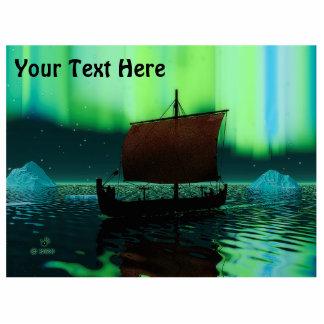 Viking Ship Under Northern Lights Cutout