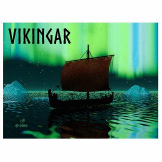 Viking Ship Under Northern Lights Statuette