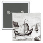 Viking Ships 2 Inch Square Button
