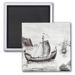 Viking Ships 2 Inch Square Magnet