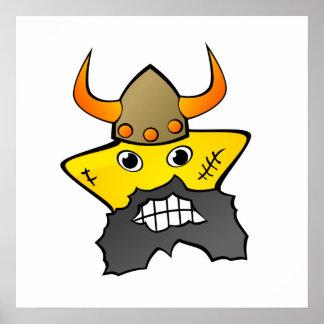 Viking Star Cartoon Poster