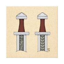 Viking Sword Pattern Welding Canvas Print