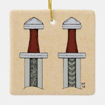 Viking Sword Pattern Welding Ceramic Ornament