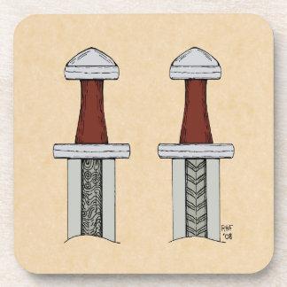 Viking Sword Pattern Welding Drink Coaster