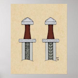 Viking Sword Pattern Welding Poster