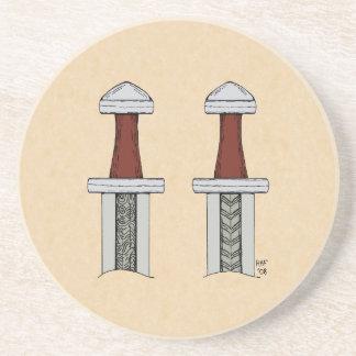 Viking Sword Pattern Welding Sandstone Coaster