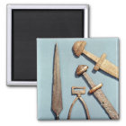 Viking swords, stirrup and spearhead magnet