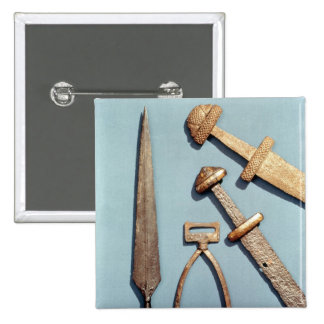 Viking swords, stirrup and spearhead pinback button