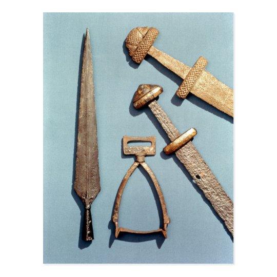 Viking swords, stirrup and spearhead postcard