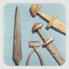 Viking swords, stirrup and spearhead square sticker