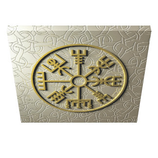 "Viking symbol ""Vegvisir"" in aluminium and gold Canvas Print"