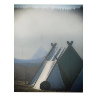 Viking tent and shield in morning mist panel wall art