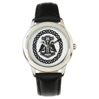 Viking Thor's Hammer with Ravens in Celtic Circle Watch
