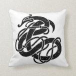 Viking Urnes Style Snake Black and White Throw Pillow
