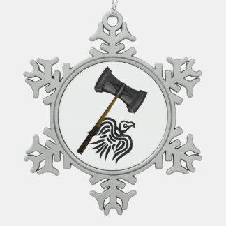 Viking War Hammer Snowflake Pewter Christmas Ornament