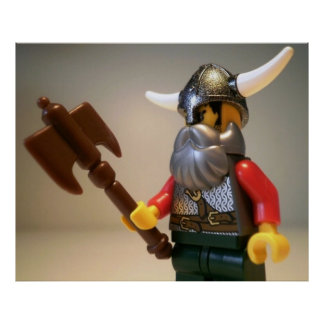 Viking Warrior Custom Minifigure with Battle Axe Poster