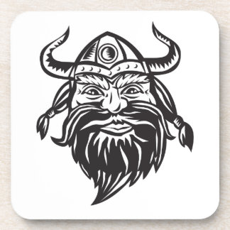 Viking Warrior Head Angry Black and White Drink Coaster