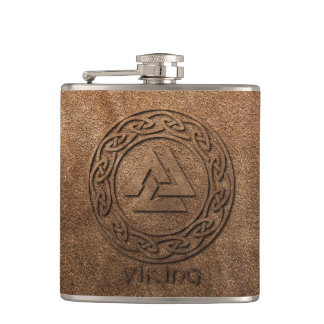 Viking Warrior Leather Print Flask