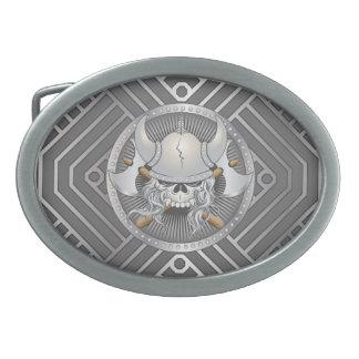 Viking Warrior Skull Oval Belt Buckle