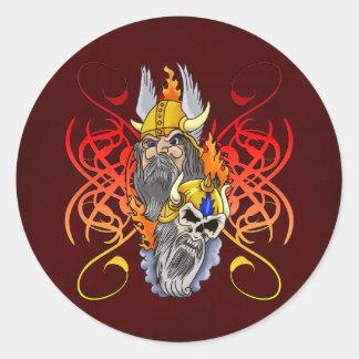 Viking Warrior Tattoo Classic Round Sticker