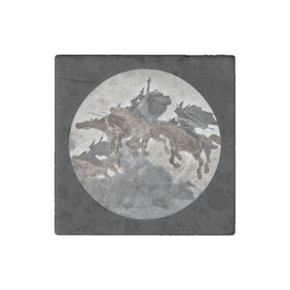 Viking Warriors Charging Through the Sky Stone Magnet
