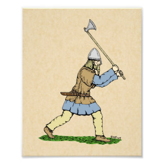 Viking Wielding Broad-Axe Photo Print